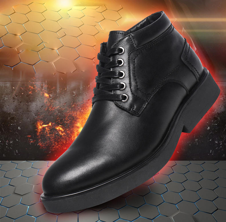 Men's Electric Rechargeable Heated Leather Shoes for Cold Weather
